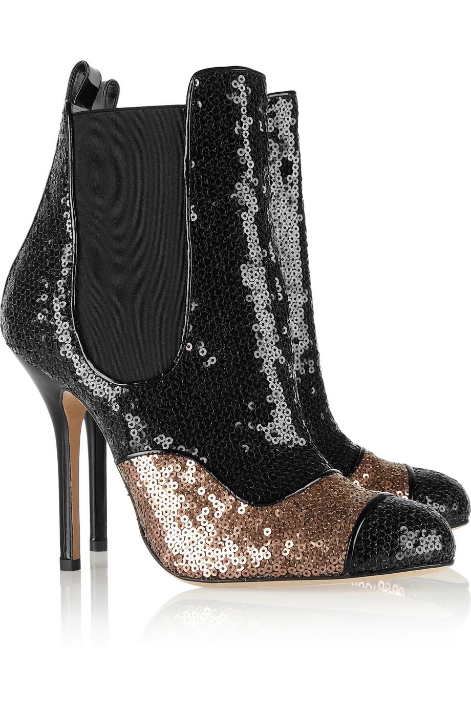 Oscar de la Renta Lady Simona Sequined Leather Boots in Black
