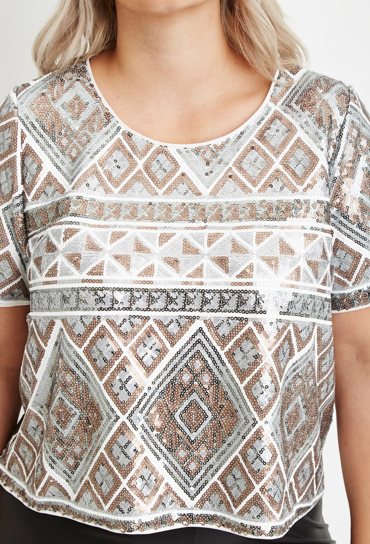 fbe566f130a505 Lyst - Forever 21 Geo-patterned Sequin Top in Natural