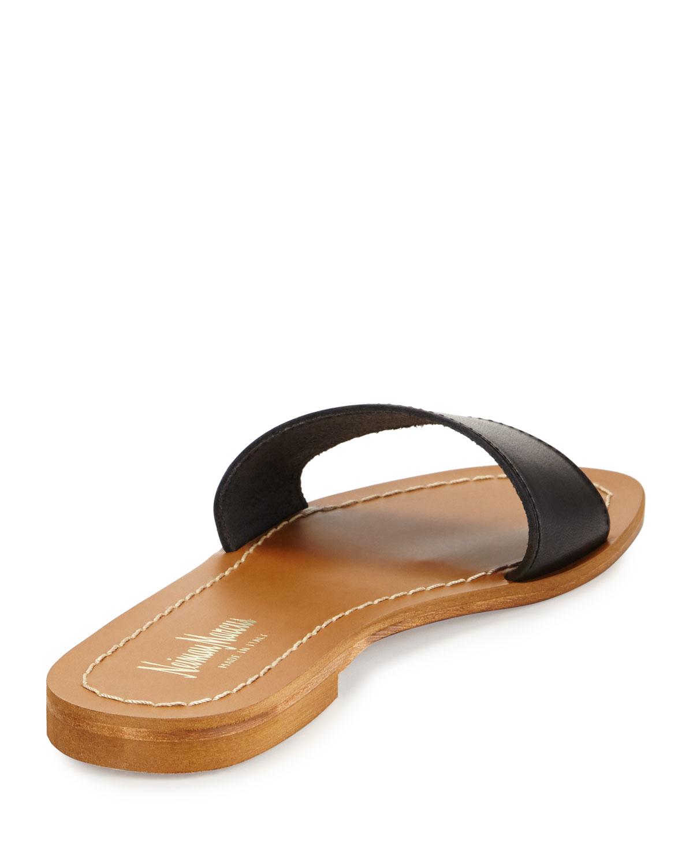 Neiman marcus Filomena Leather Slide Sandal in Black   Lyst