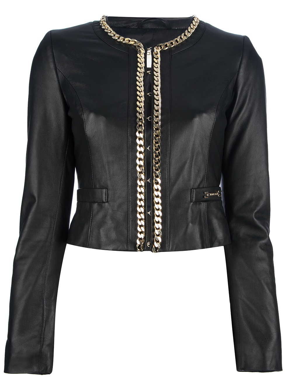 Elisabetta Franchi Chain Trim Leather Jacket In Black Lyst