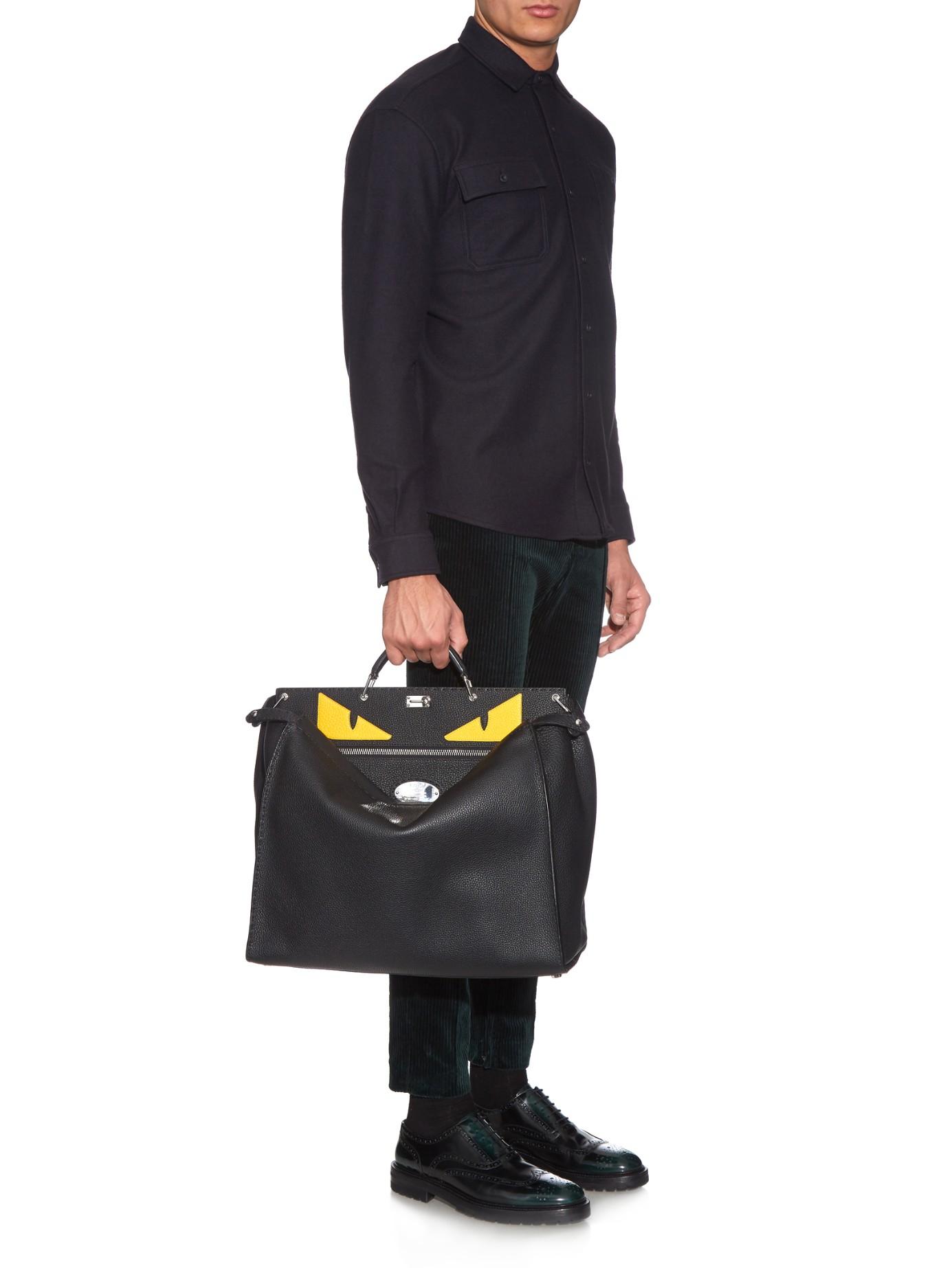 3152f9d9c7 Lyst - Fendi Selleria Peekaboo Leather Tote in Black for Men