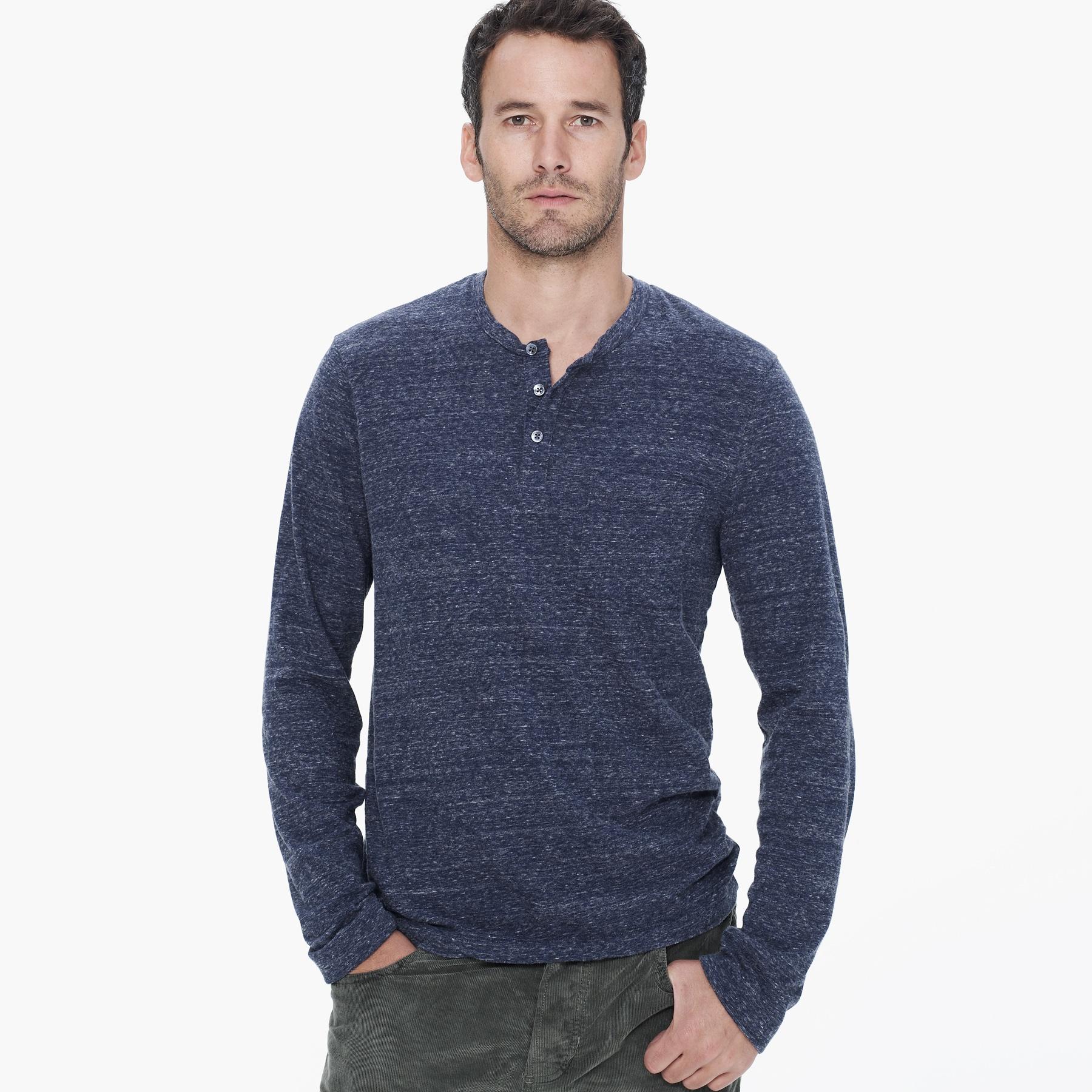 James Perse Vintage Jersey Pocket Henley In Blue For Men