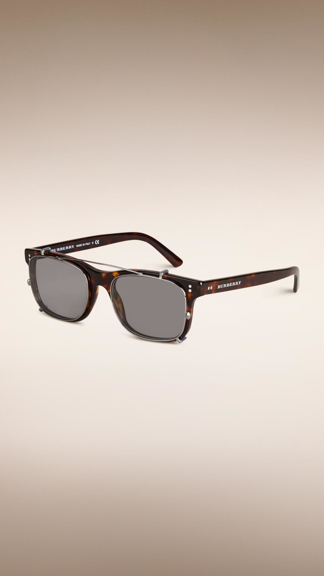 570e00169340 Burberry Square Frame Sunglasses With Clip-on Lenses in Brown for ...
