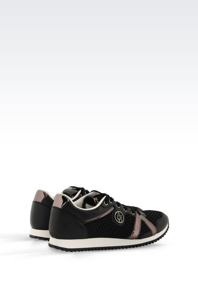 armani jeans sneaker in leather and technical fabric in black lyst. Black Bedroom Furniture Sets. Home Design Ideas