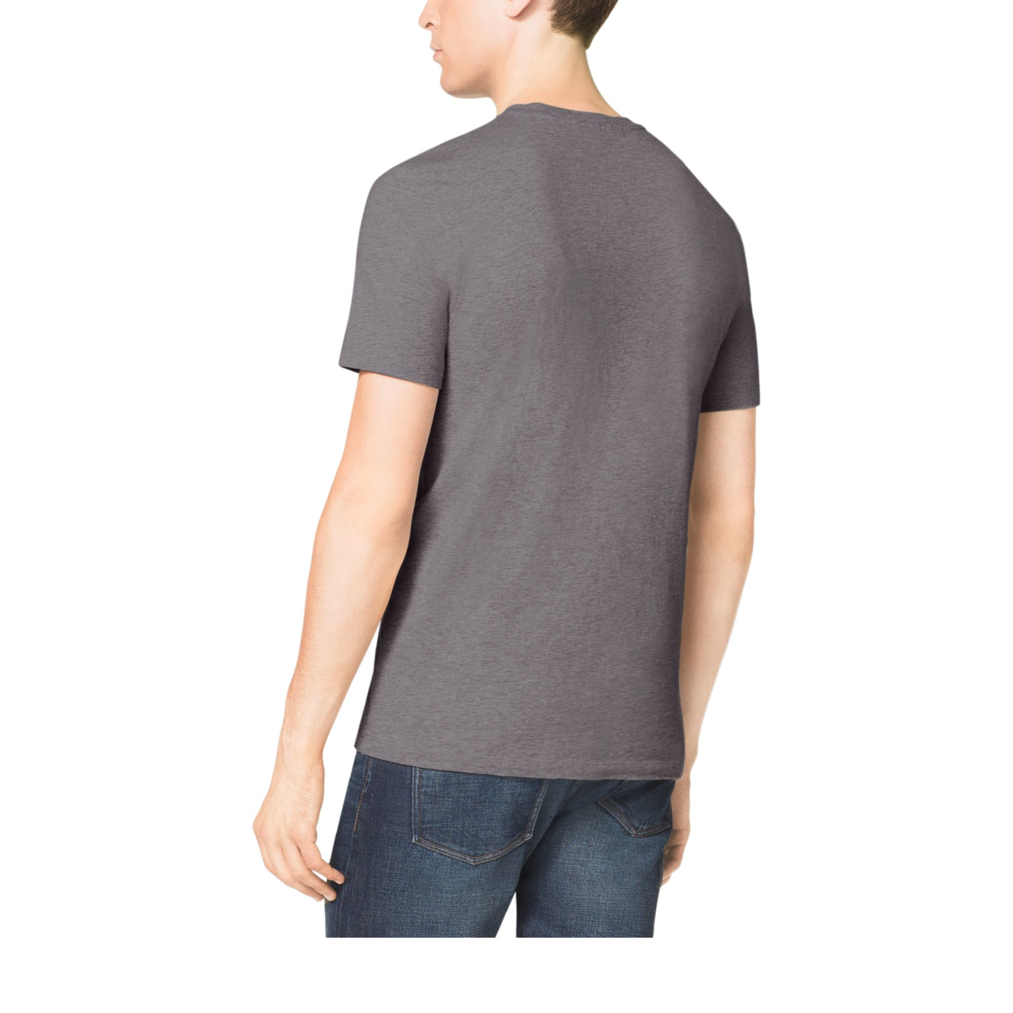 michael kors v neck cotton t shirt in gray for men lyst. Black Bedroom Furniture Sets. Home Design Ideas