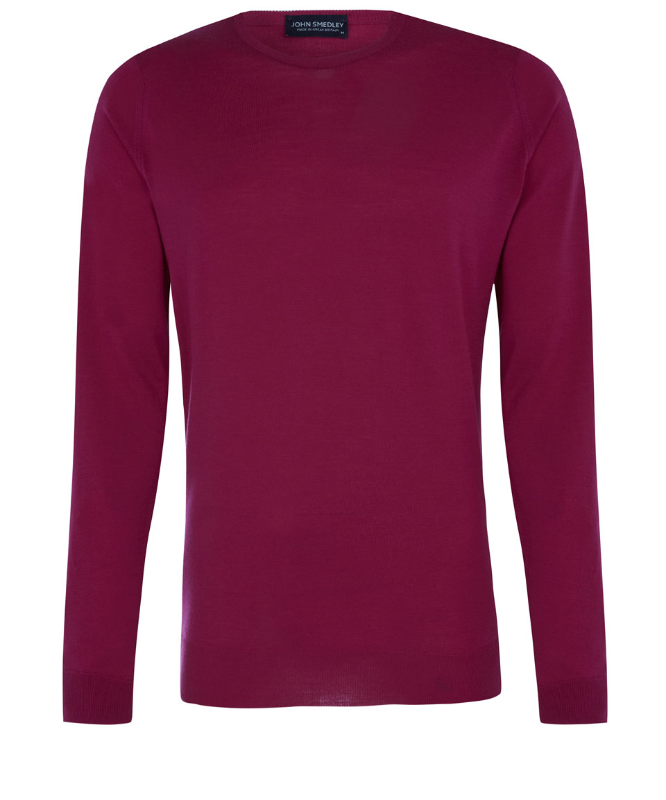 John smedley Dark Pink Marcus Crew Neck Jumper in Pink for Men | Lyst