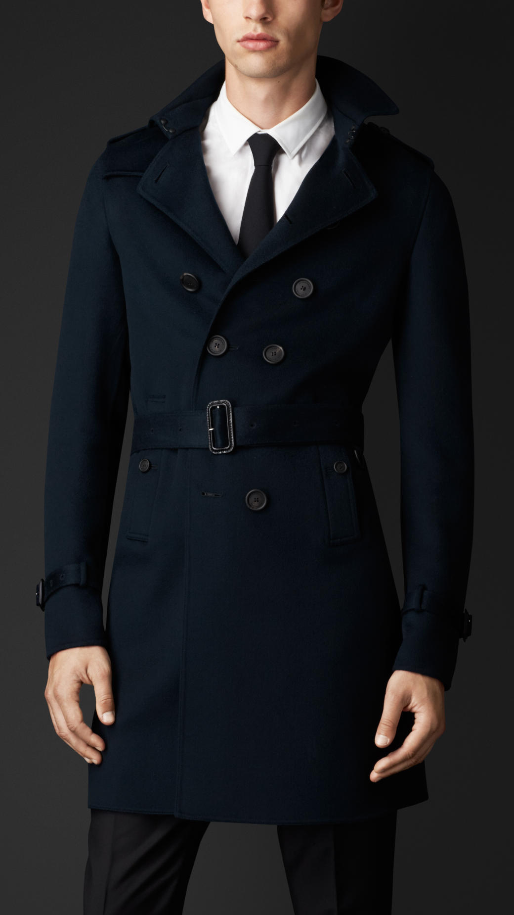 Burberry Double Cashmere Trench Coat in Blue for Men | Lyst