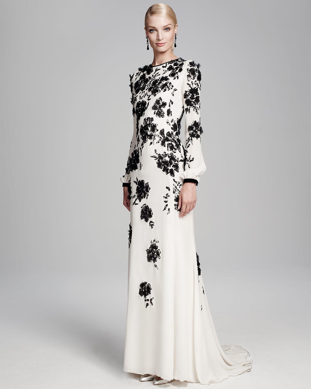 Lyst Oscar De La Renta Long Sleeve Floral Embellished Gown In White