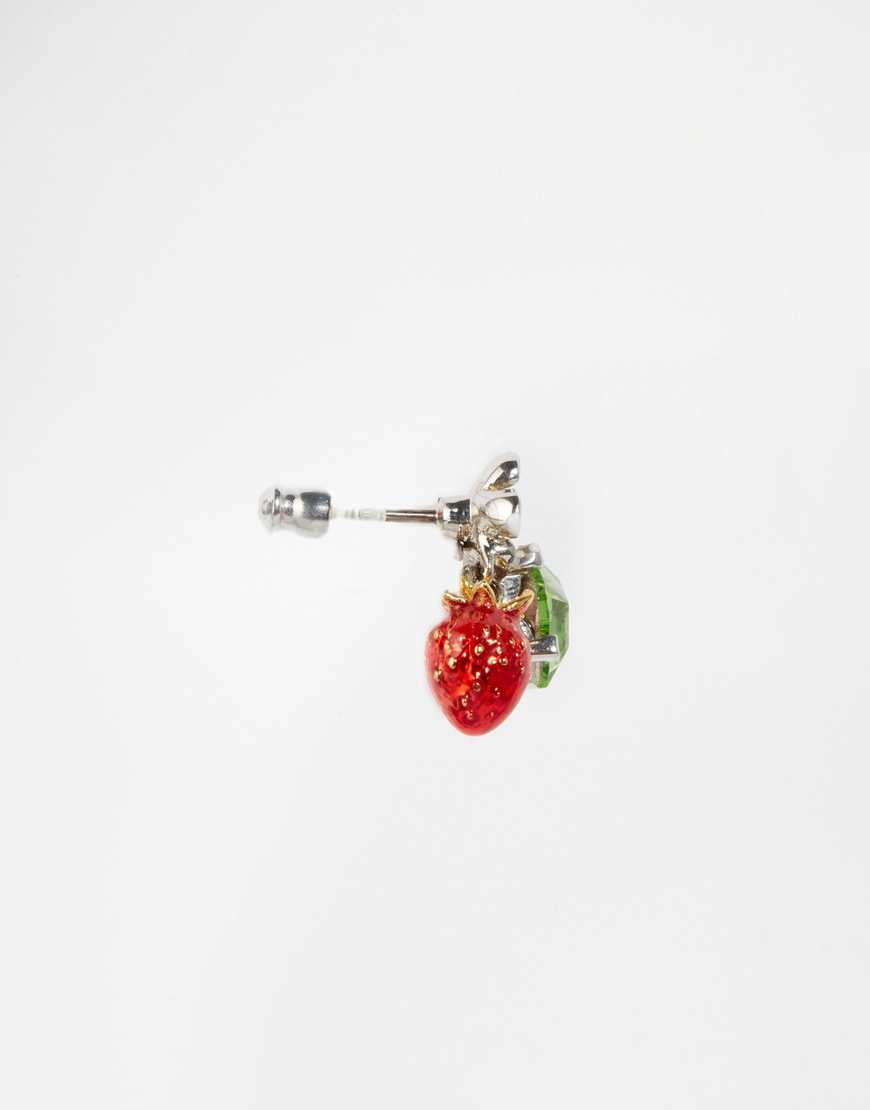 pair bar cute from pink fashion trendy tiny earrings strawberry in simple earings one red women stud jewelry for item wholesale