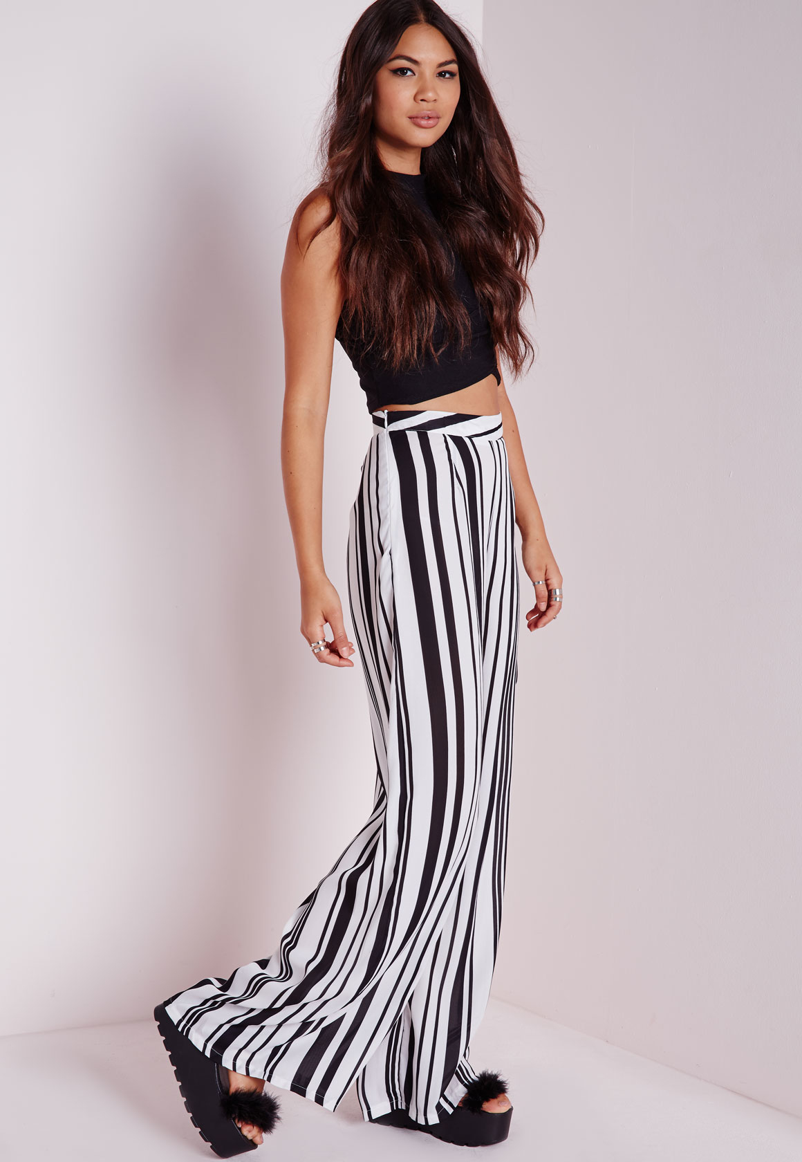 Missguided Tall Striped Wide Leg Pants Monochrome in Black | Lyst