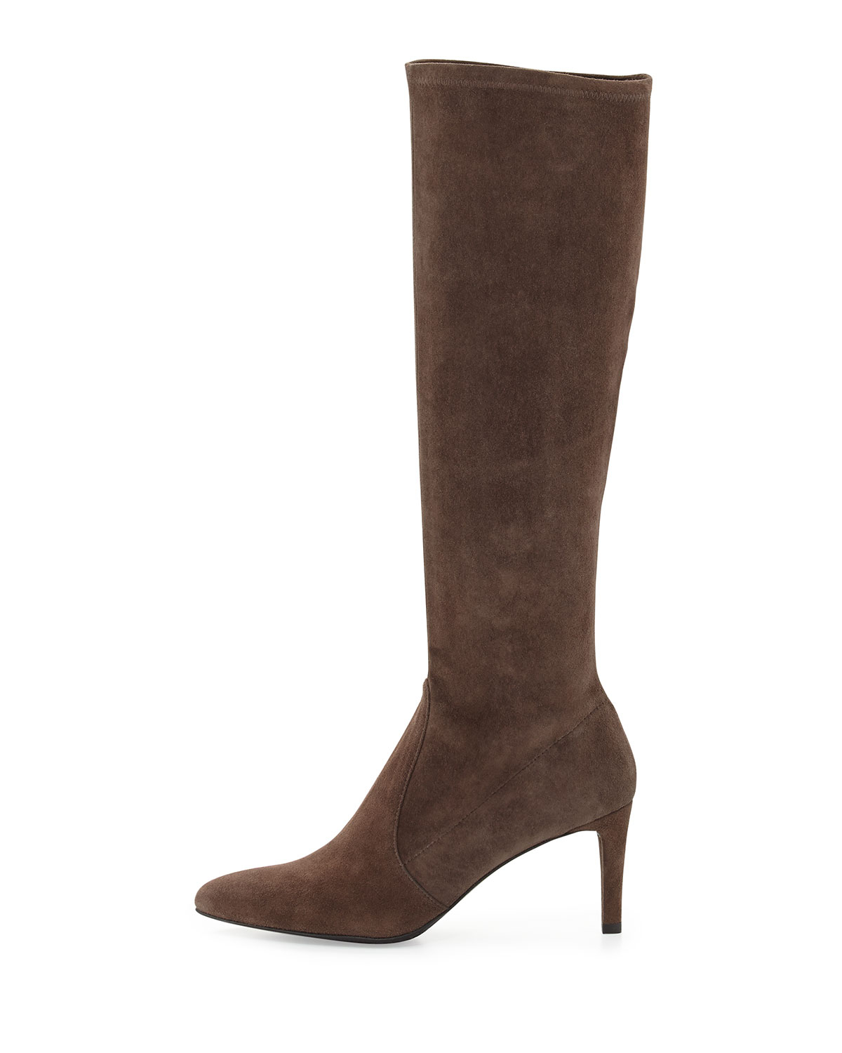 stuart weitzman coolboot stretch suede boot in brown lyst
