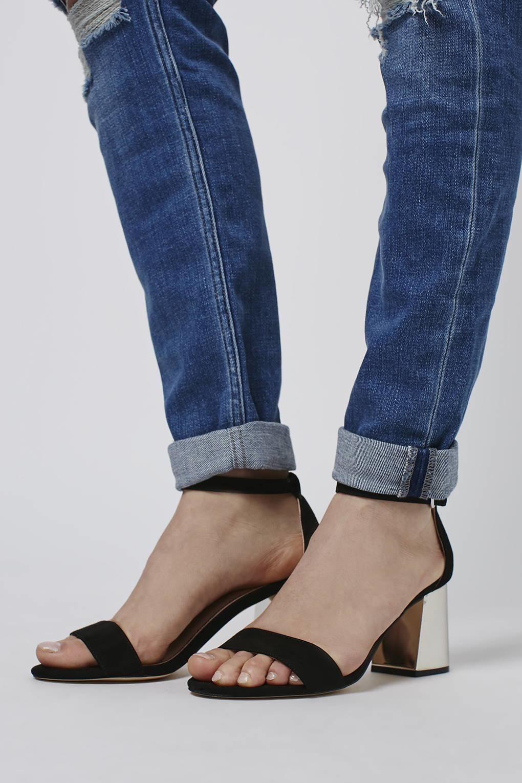 31e8e2da34c530 Lyst - TOPSHOP Noodle Mid Heel Two-part Sandals in Natural