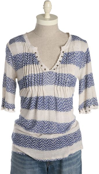 Lucky Brand Charlotte Pintuck Geo Stripe Top in Blue