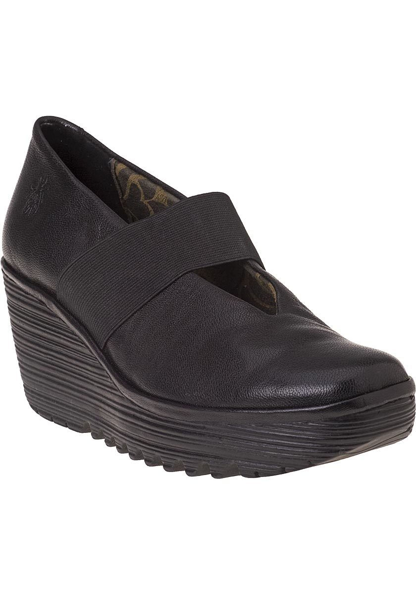 Lyst Fly London Yale Mary Jane Wedge Black Leather In Black