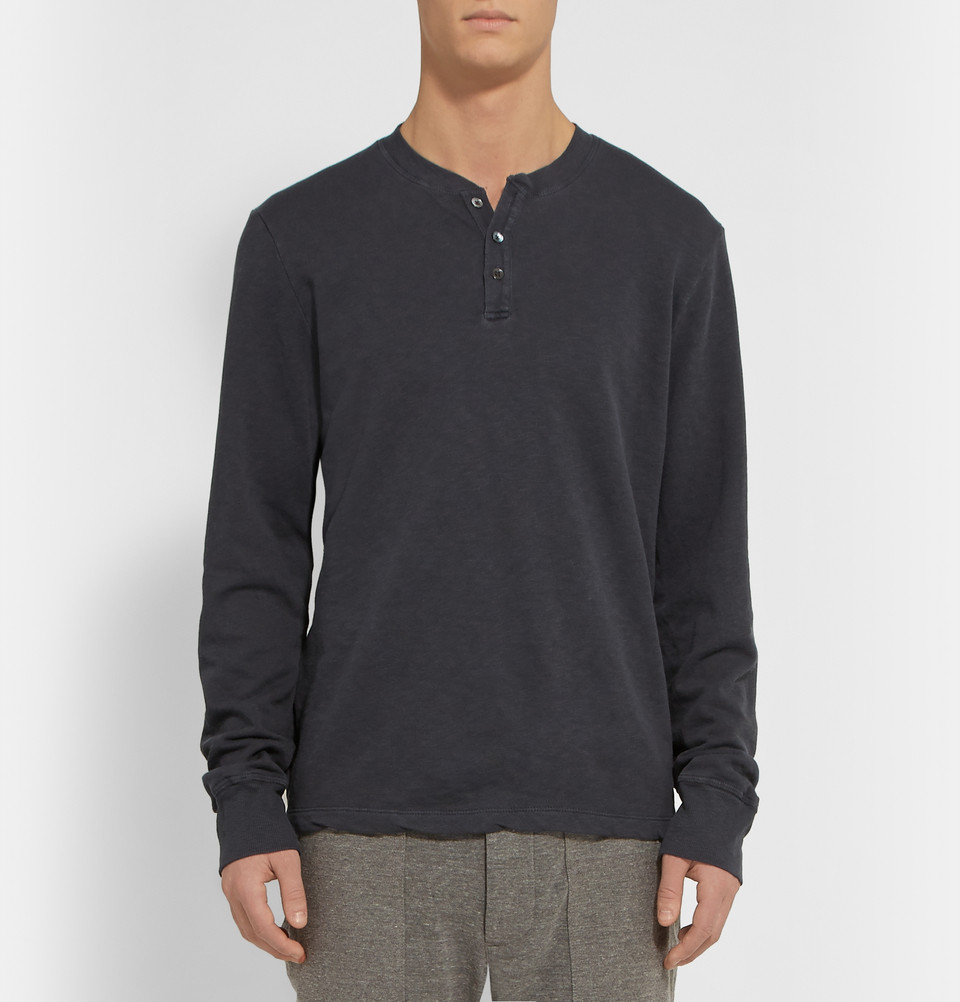 Lyst james perse supima cotton henley t shirt in gray for James perse henley shirt