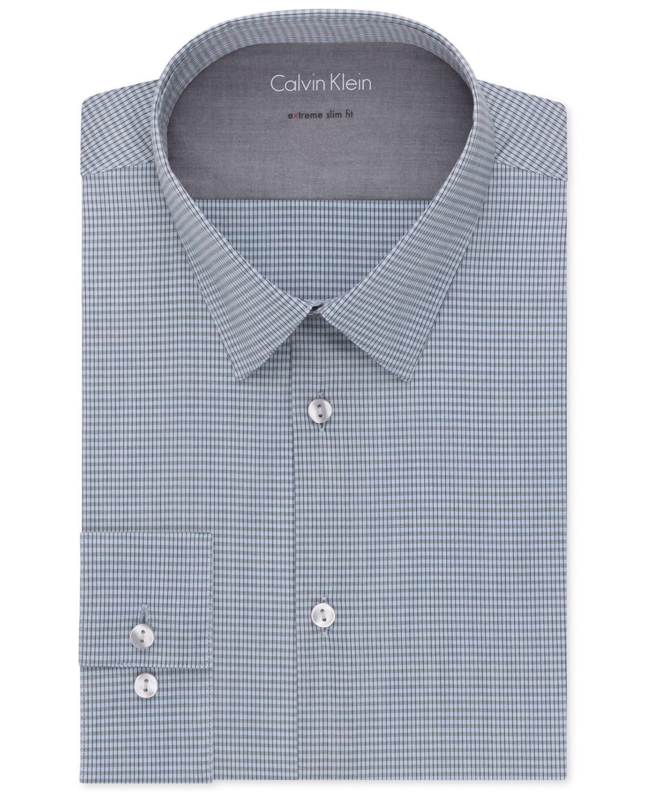 Lyst calvin klein x extra slim fit stretch blue check for Calvin klein slim fit stretch shirt