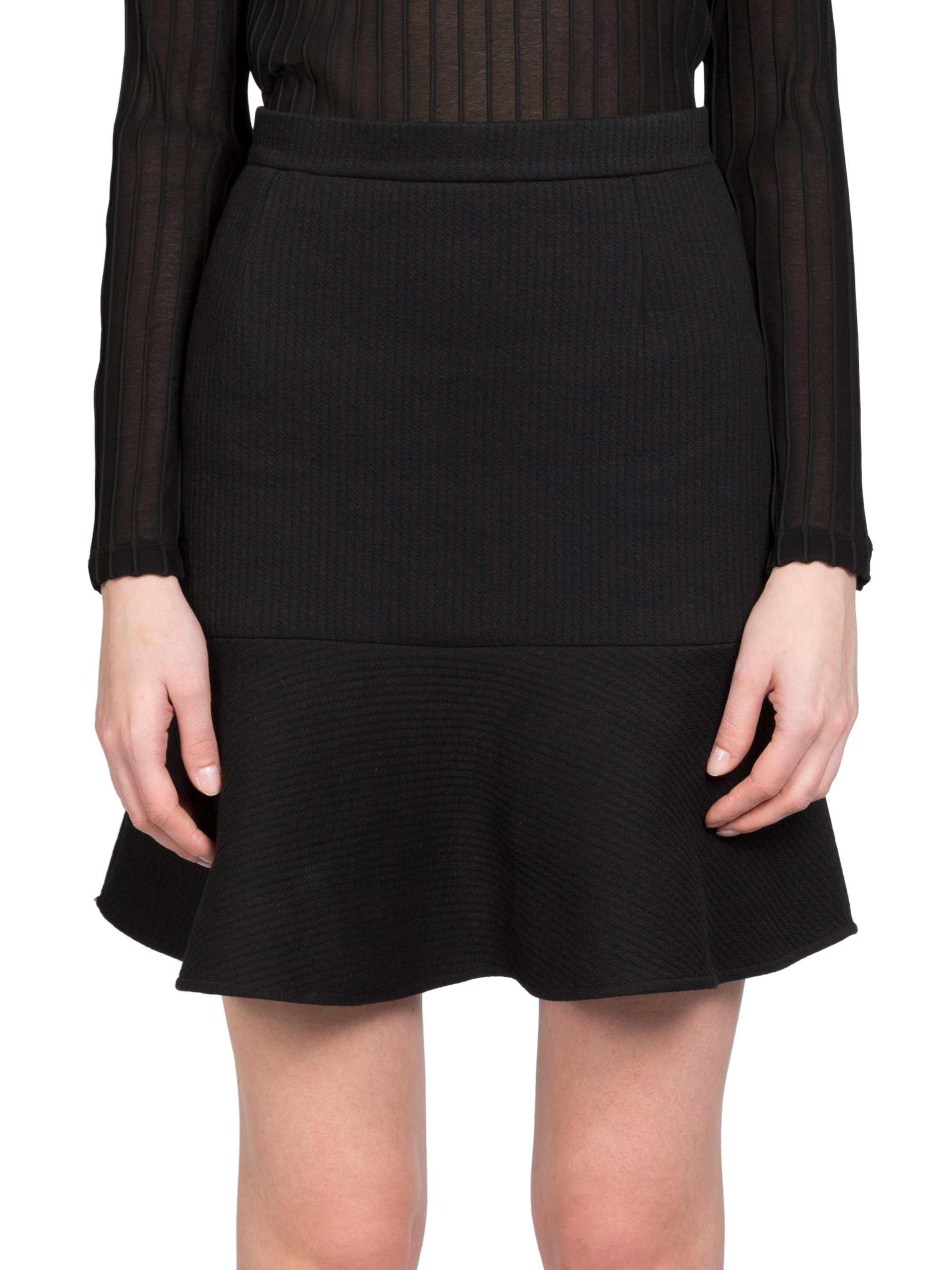 Carven Jersey Ribbed Flare Skirt in Black | Lyst