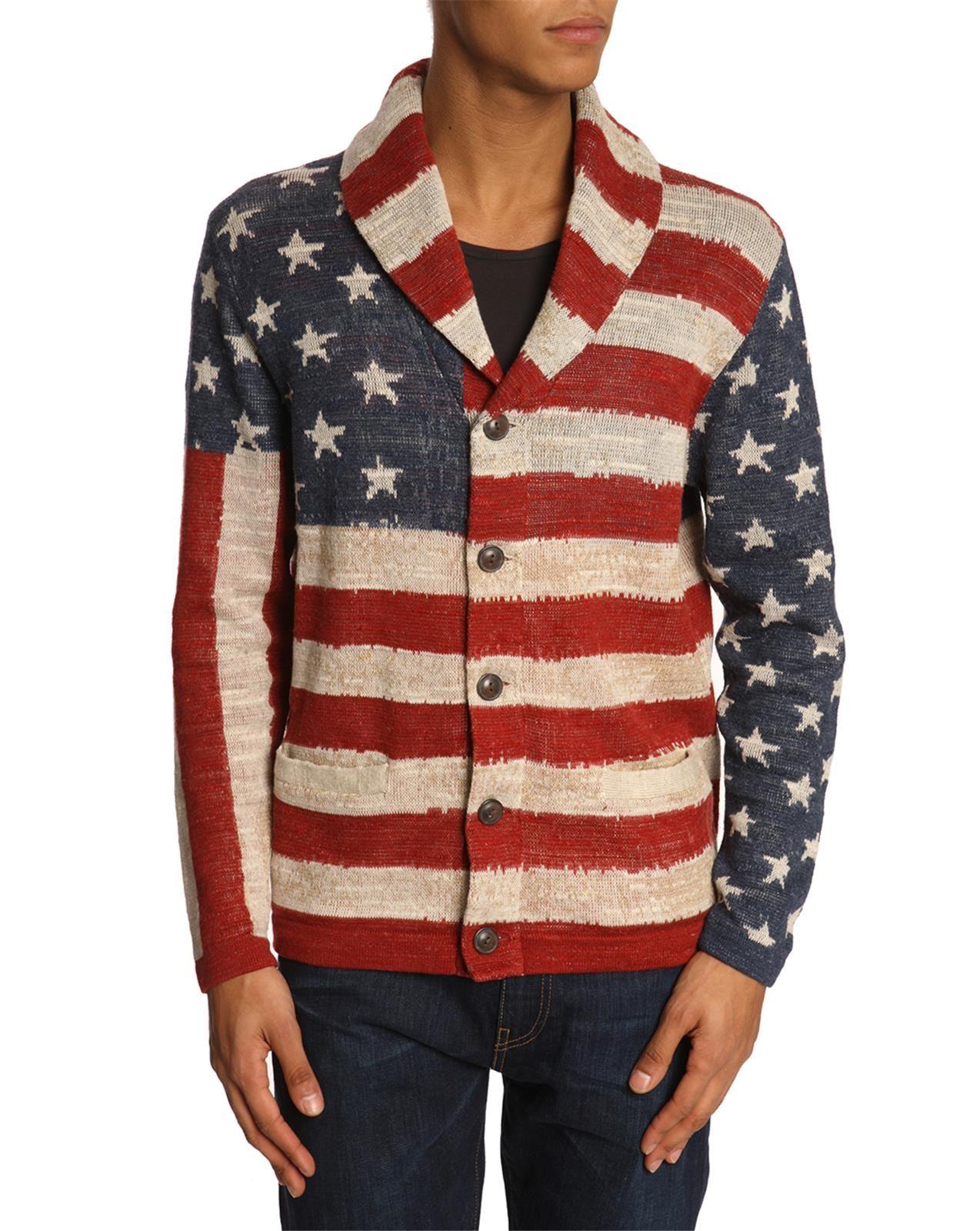 Denim Amp Supply Ralph Lauren Flag Cotton Cardigan In Blue