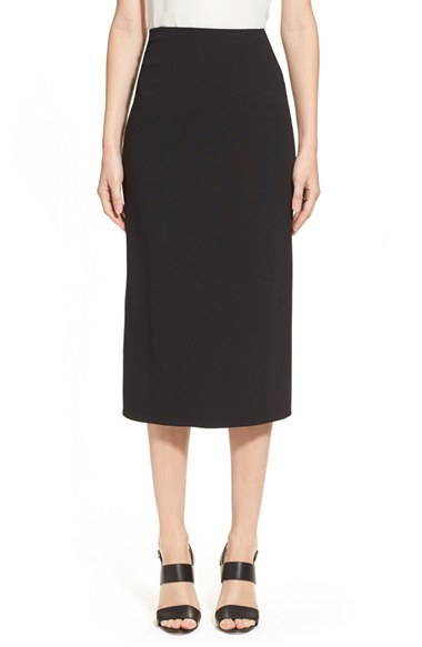 donna karan jersey pencil skirt in black lyst
