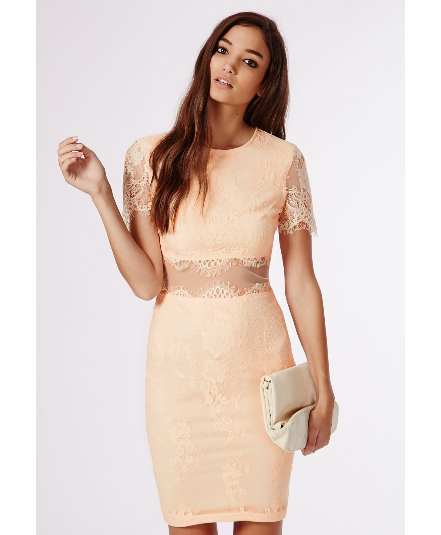 Lyst - Missguided Coldie Lace Short Sleeved Mesh Insert Midi Dress ... 381a4c352