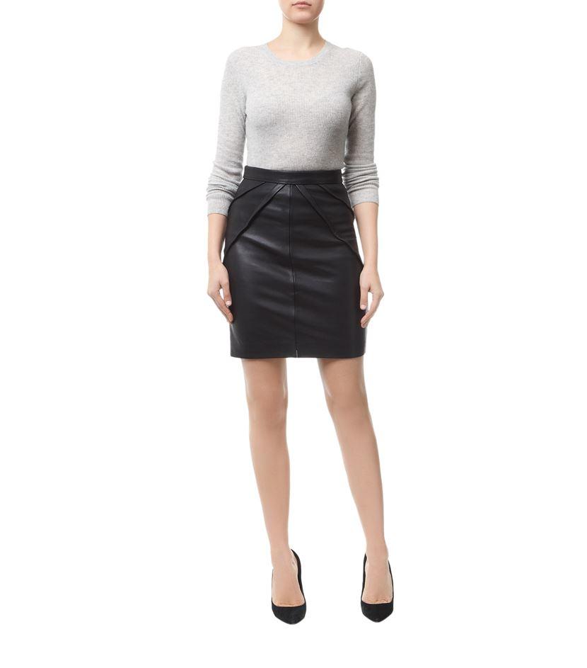 reiss etianne leather pencil skirt in black lyst