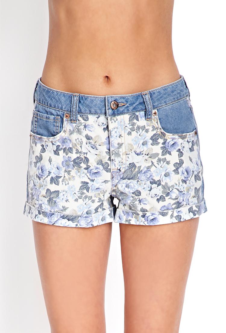 lyst forever 21 garden girl denim shorts in blue