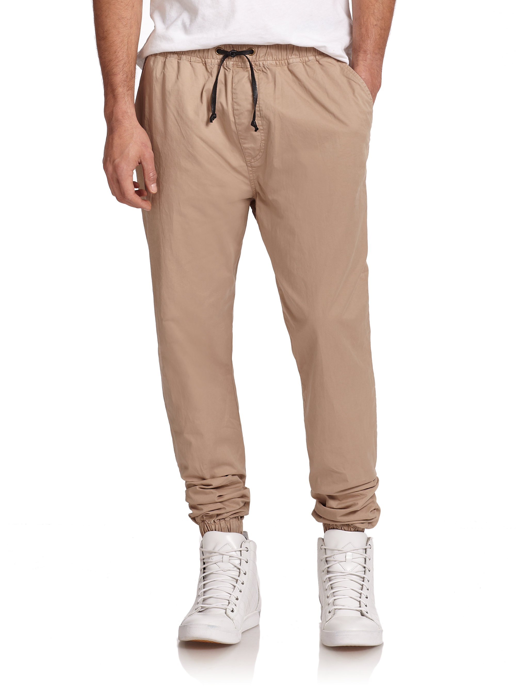 Mens Drawstring Khaki Pants 26