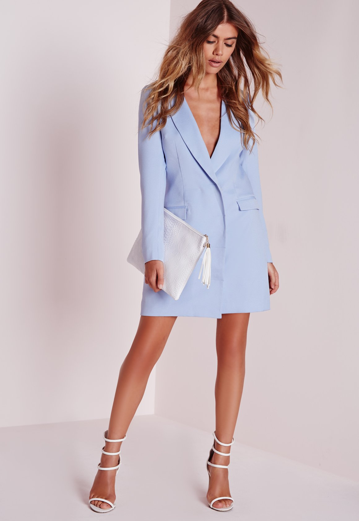 Missguided Long Sleeve Blazer Dress Blue In Blue | Lyst