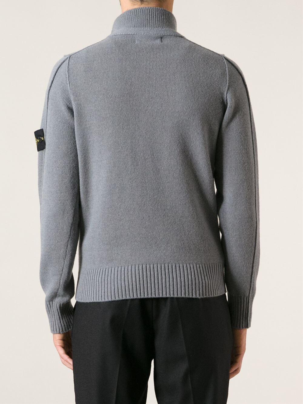 lyst stone island quarter placket sweater in gray for men. Black Bedroom Furniture Sets. Home Design Ideas