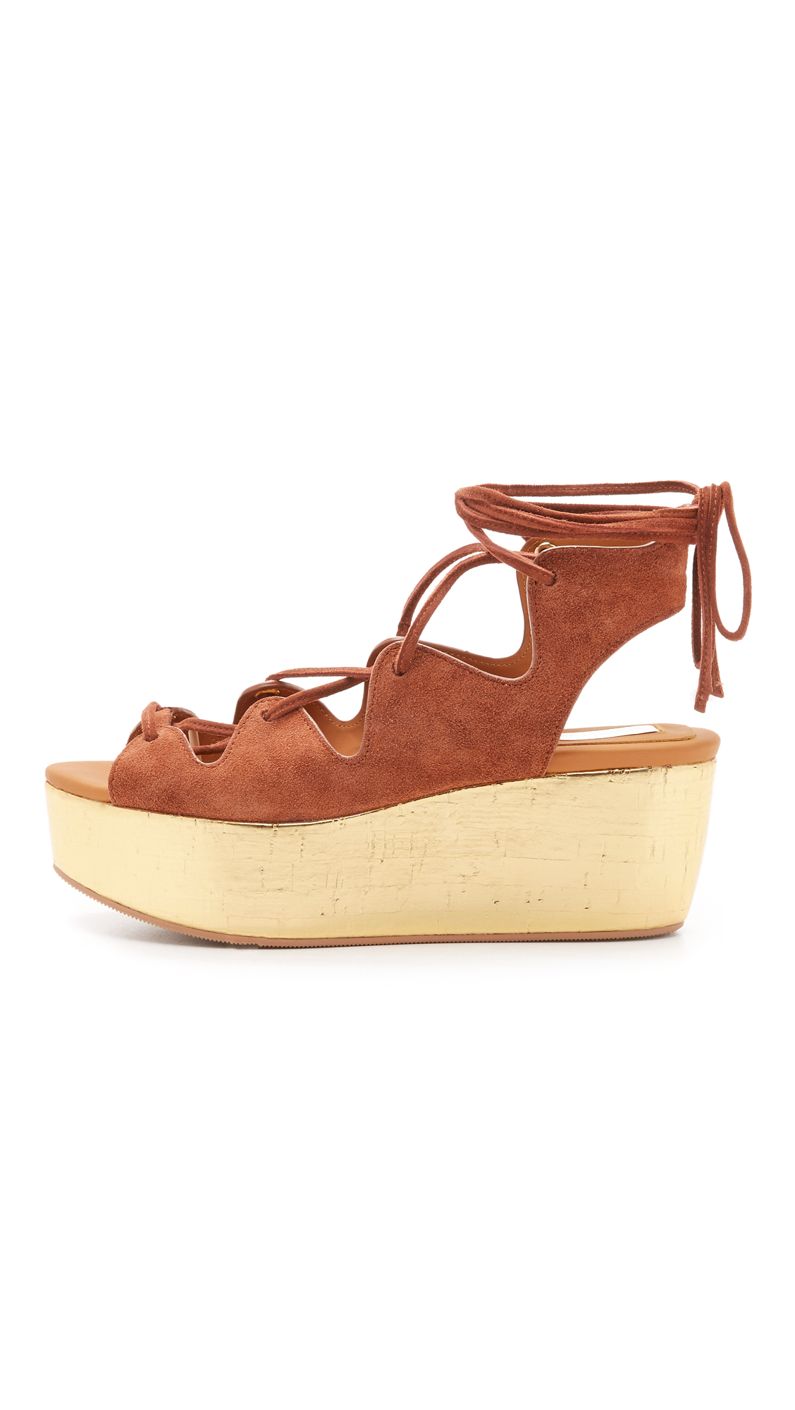 ae6b915037d Lyst - See By Chloé Liana Platform Lace Up Sandals in Brown