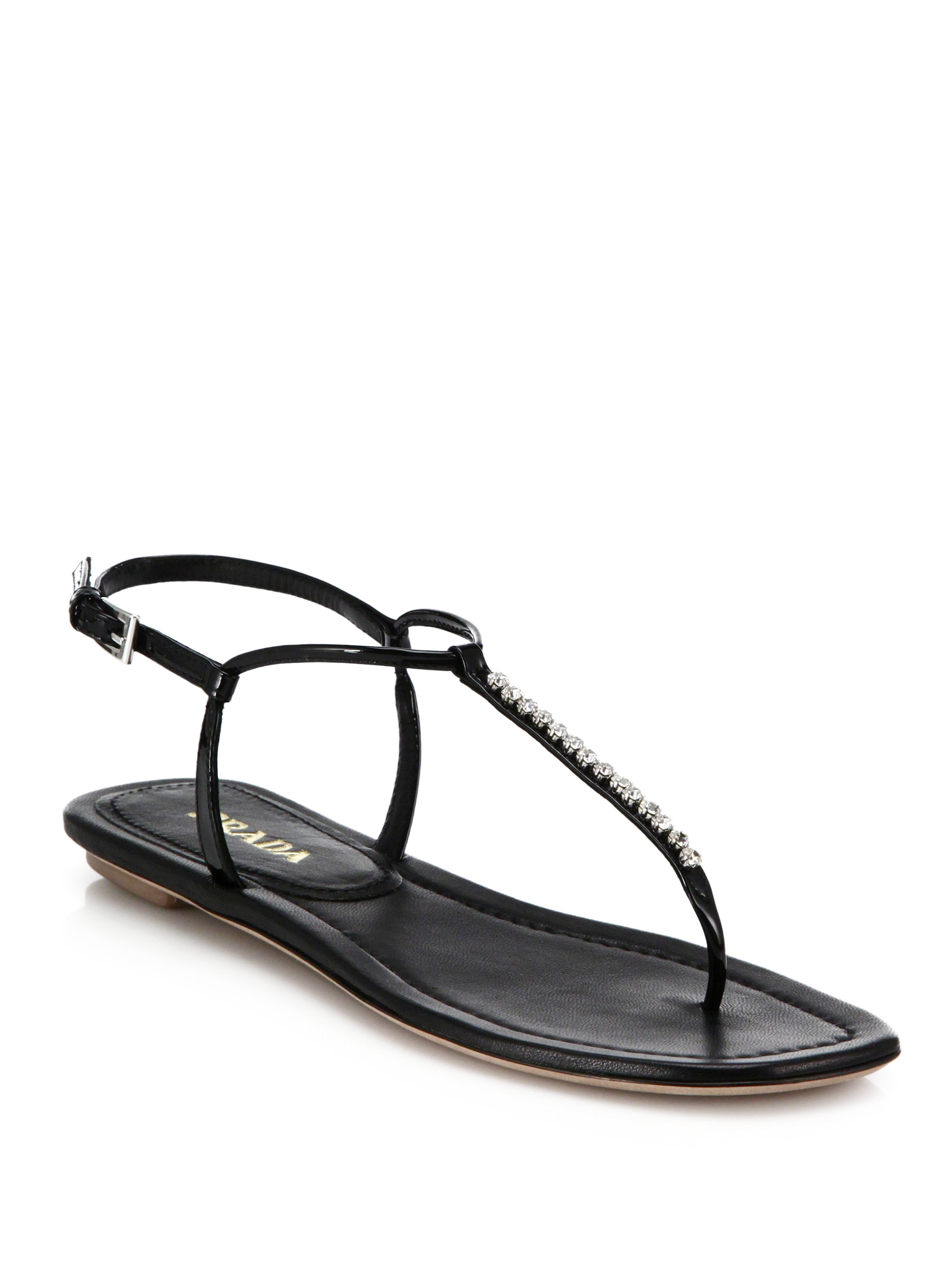 Lyst Prada Swarovski Crystal Flat Leather Sandals In Black