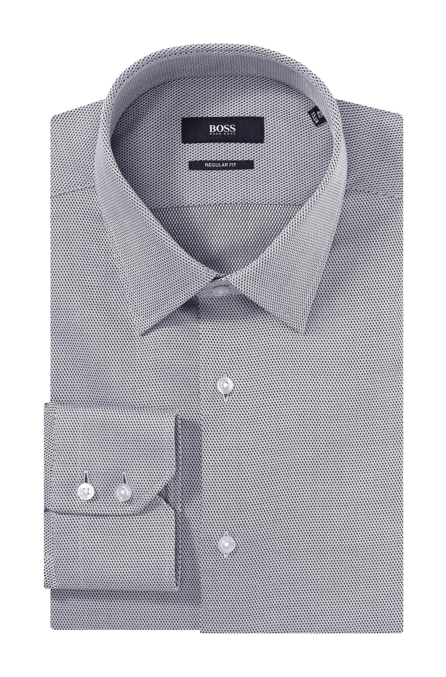 Lyst boss jason fine jacquard shirt in gray for men for Hugo boss jason shirt