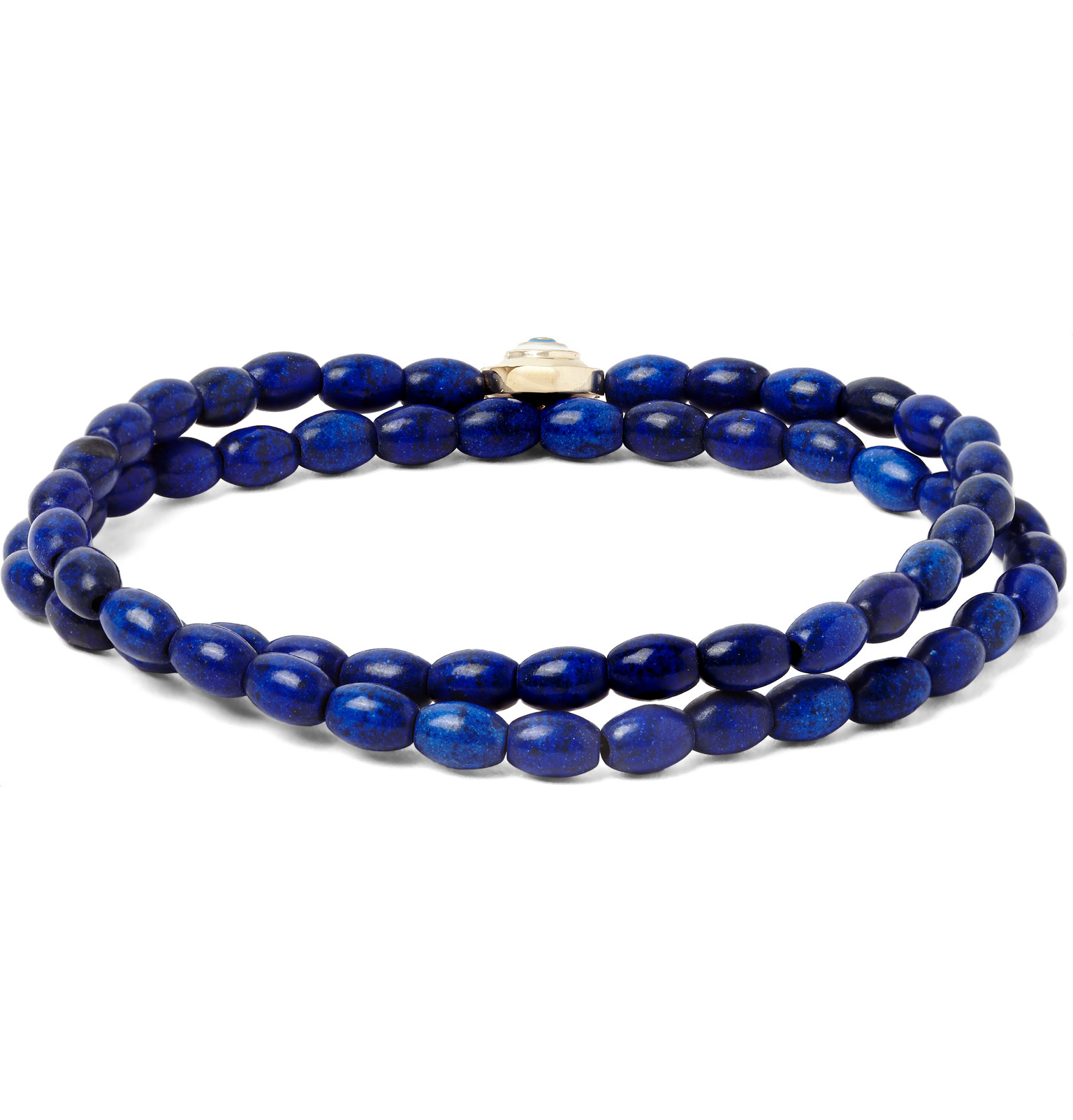 Luis Morais 14-karat Gold, Turquoise And Wood Bead Bracelet - Blue