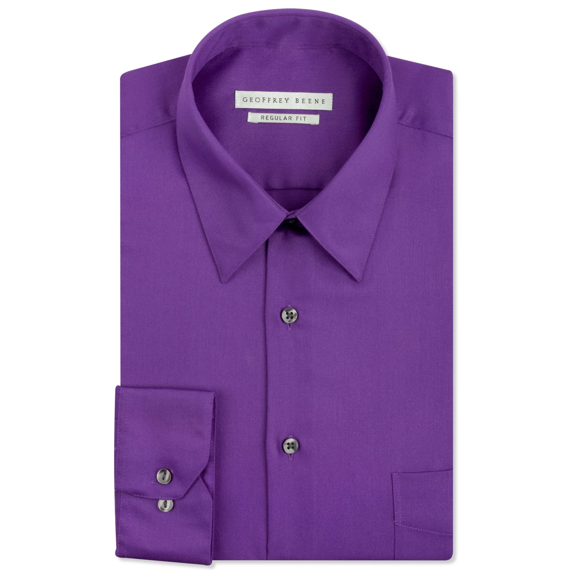 Geoffrey Beene Sateen Solid Dress Shirt In Purple For Men