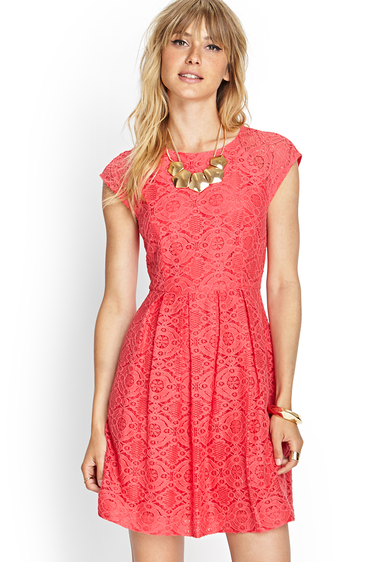 Forever 21 Contemporary Darling Lace Fit Amp Flare Dress In