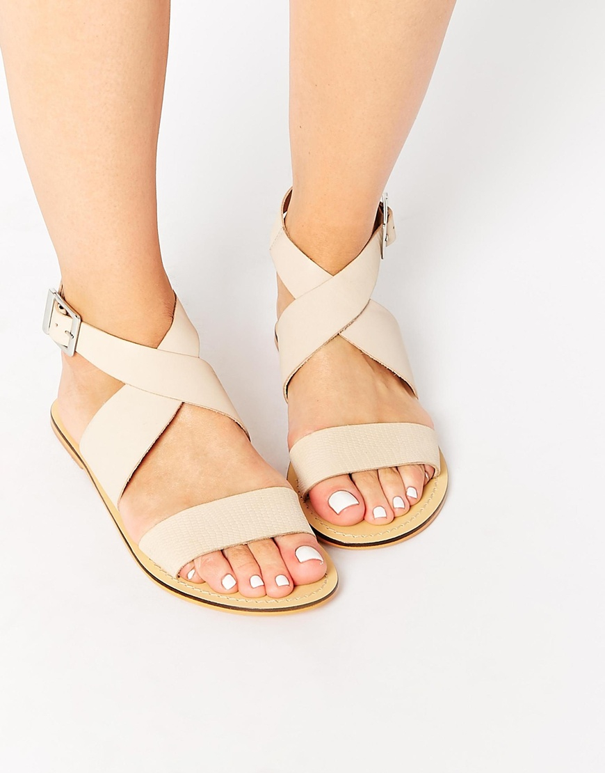 1f42f3a45cbeb Lyst - ASOS Foster Leather Flat Sandals in Natural