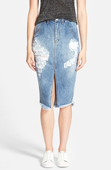 one teaspoon cadillac destroyed denim pencil skirt in