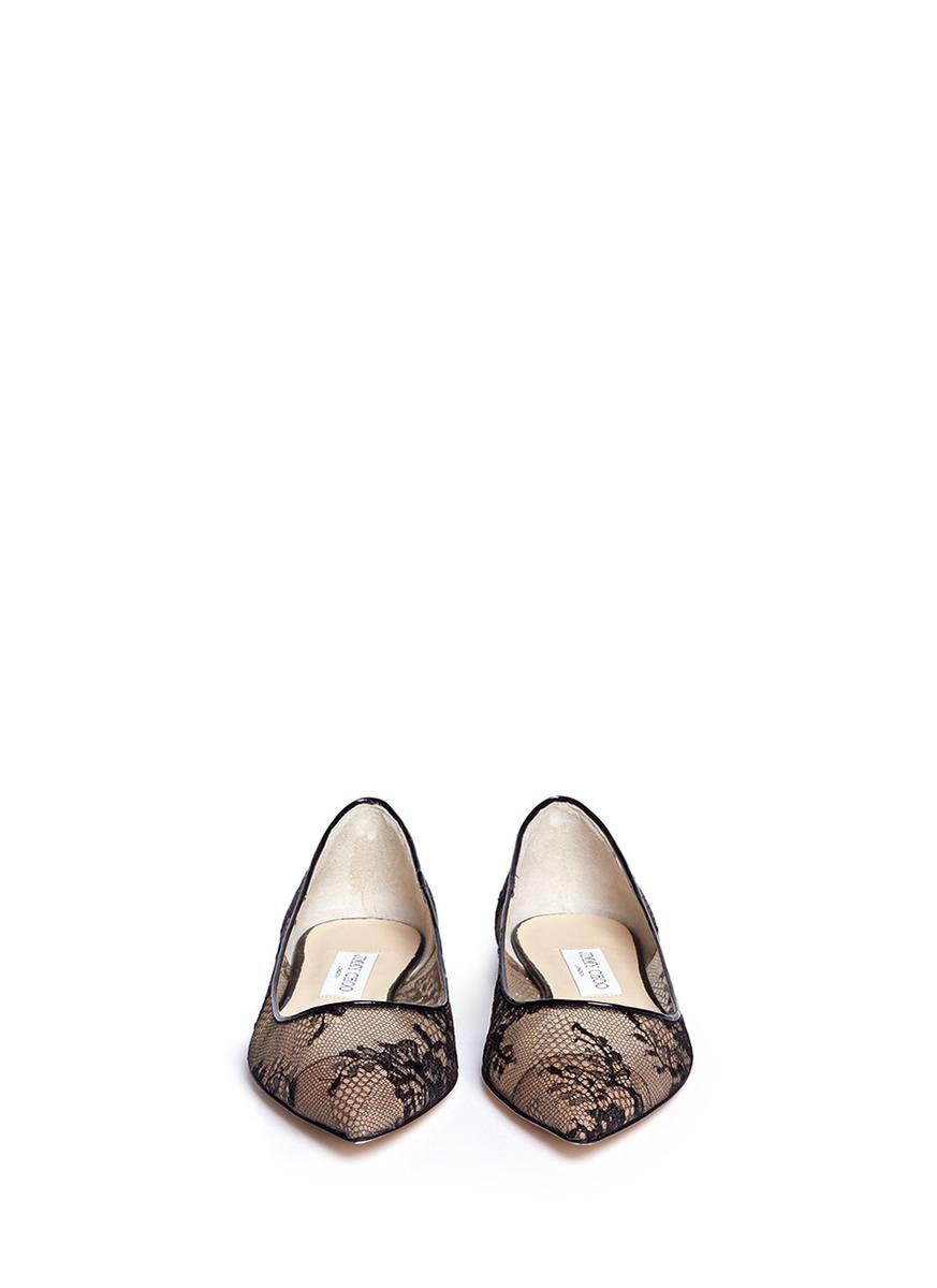 edd580cfd104 Lyst - Jimmy Choo Alina Floral-Lace Ballet Flats in Black