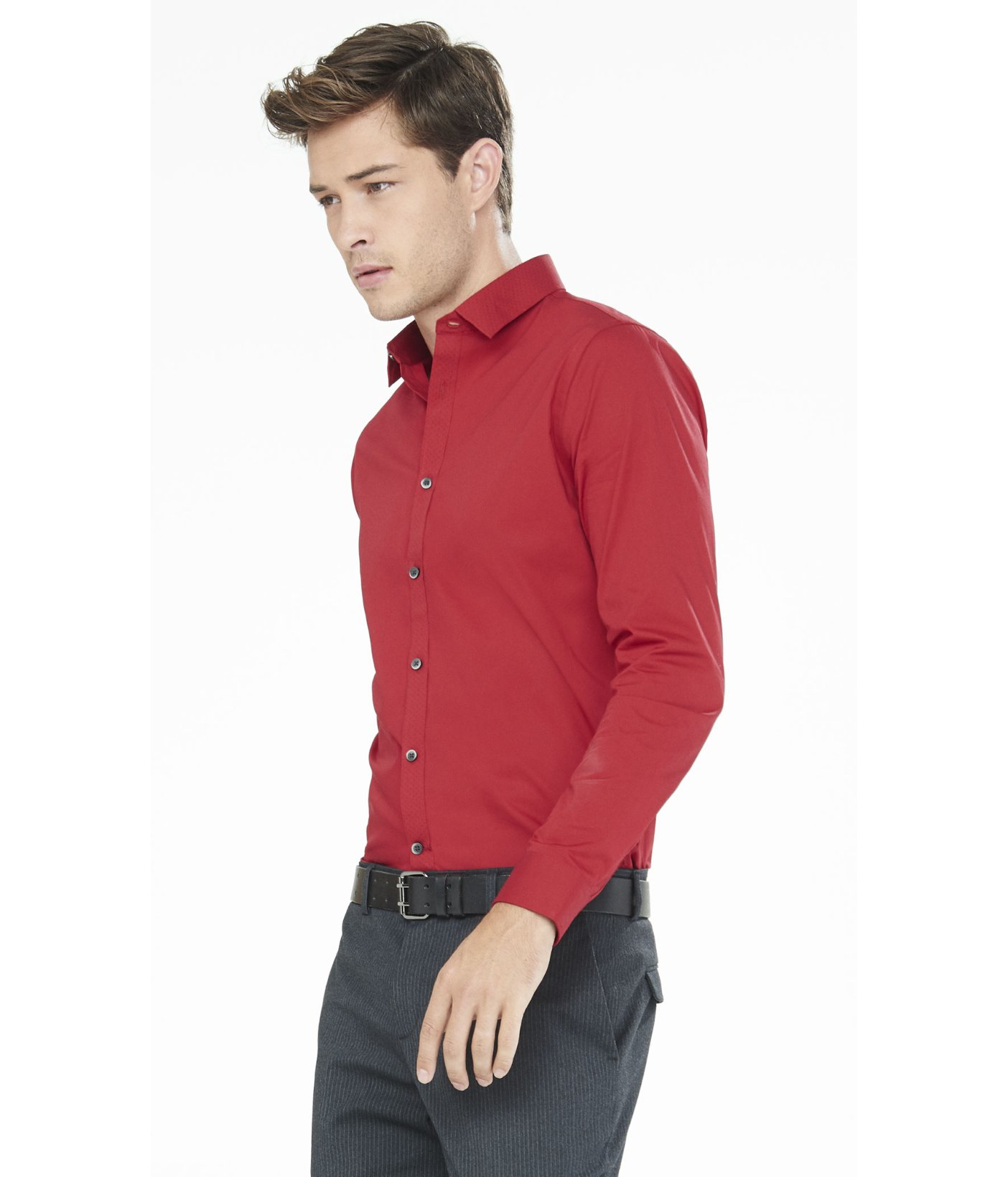 Express extra slim micro dot trim going out shirt in red for Extra slim dress shirt