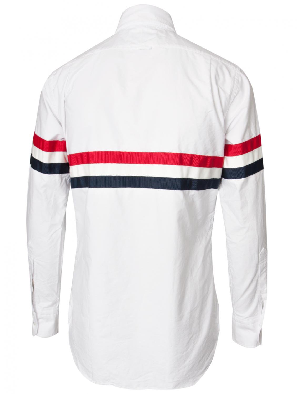 Thom browne classic oxford stripe shirt whitered blue in for Thom browne white shirt