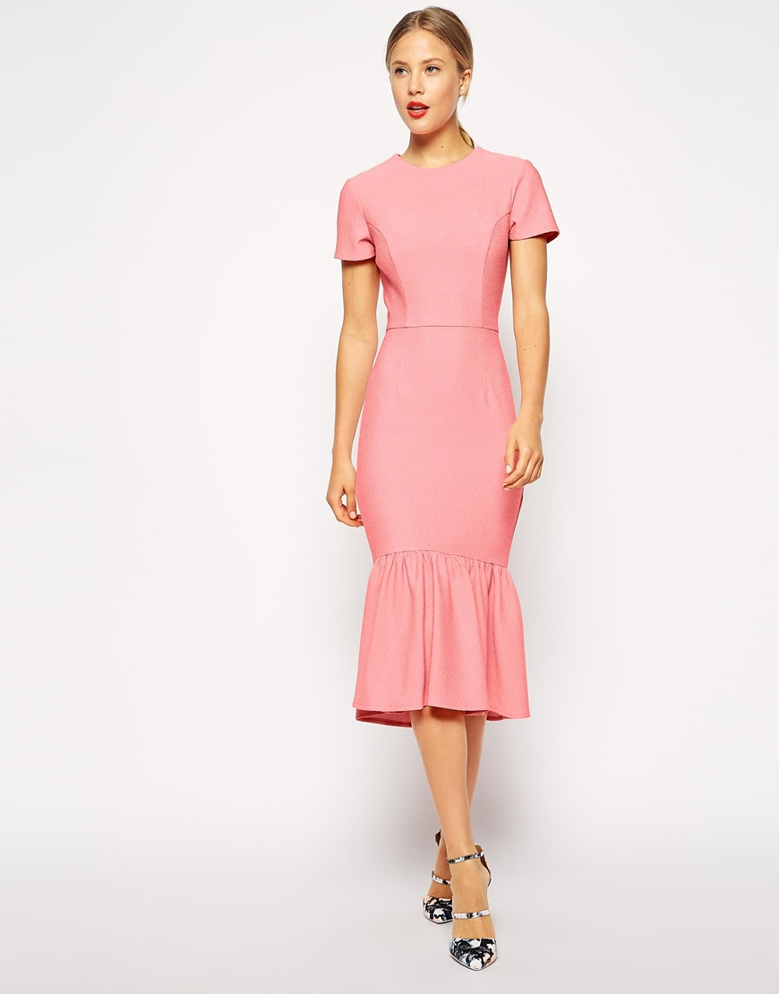 Asos Pencil Dress With Peplum Hem In Texture in Pink  Lyst