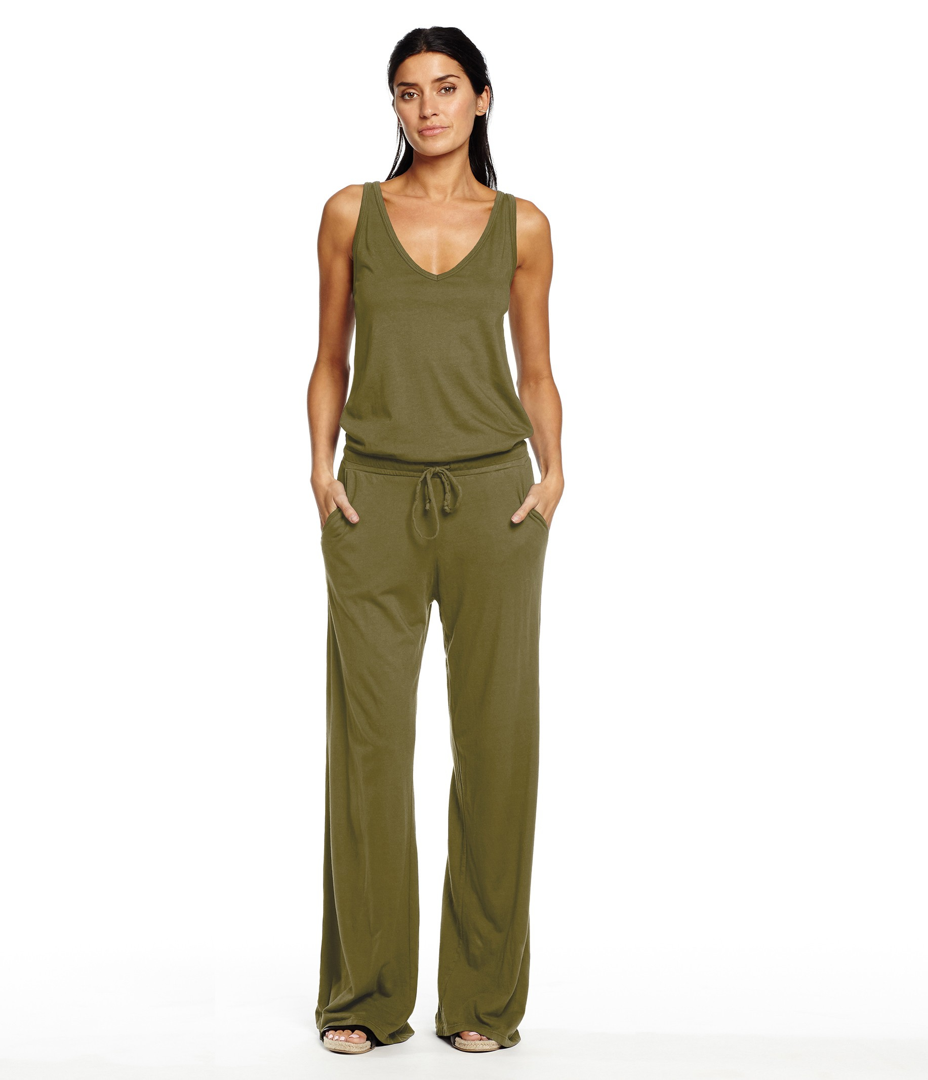 Michael stars sleeveless double v neck jumpsuit in green for Michael stars t shirts on sale