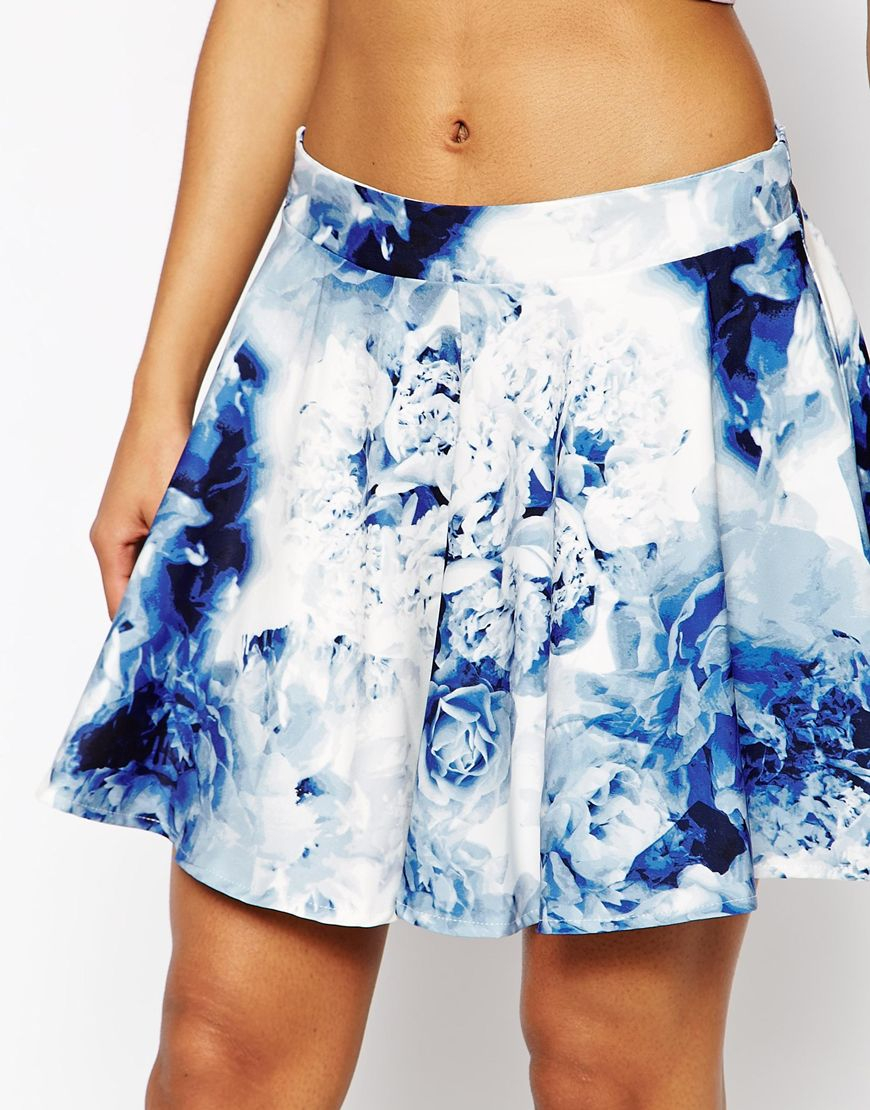 lyst wyldr holly skater skirt in blurred floral in blue