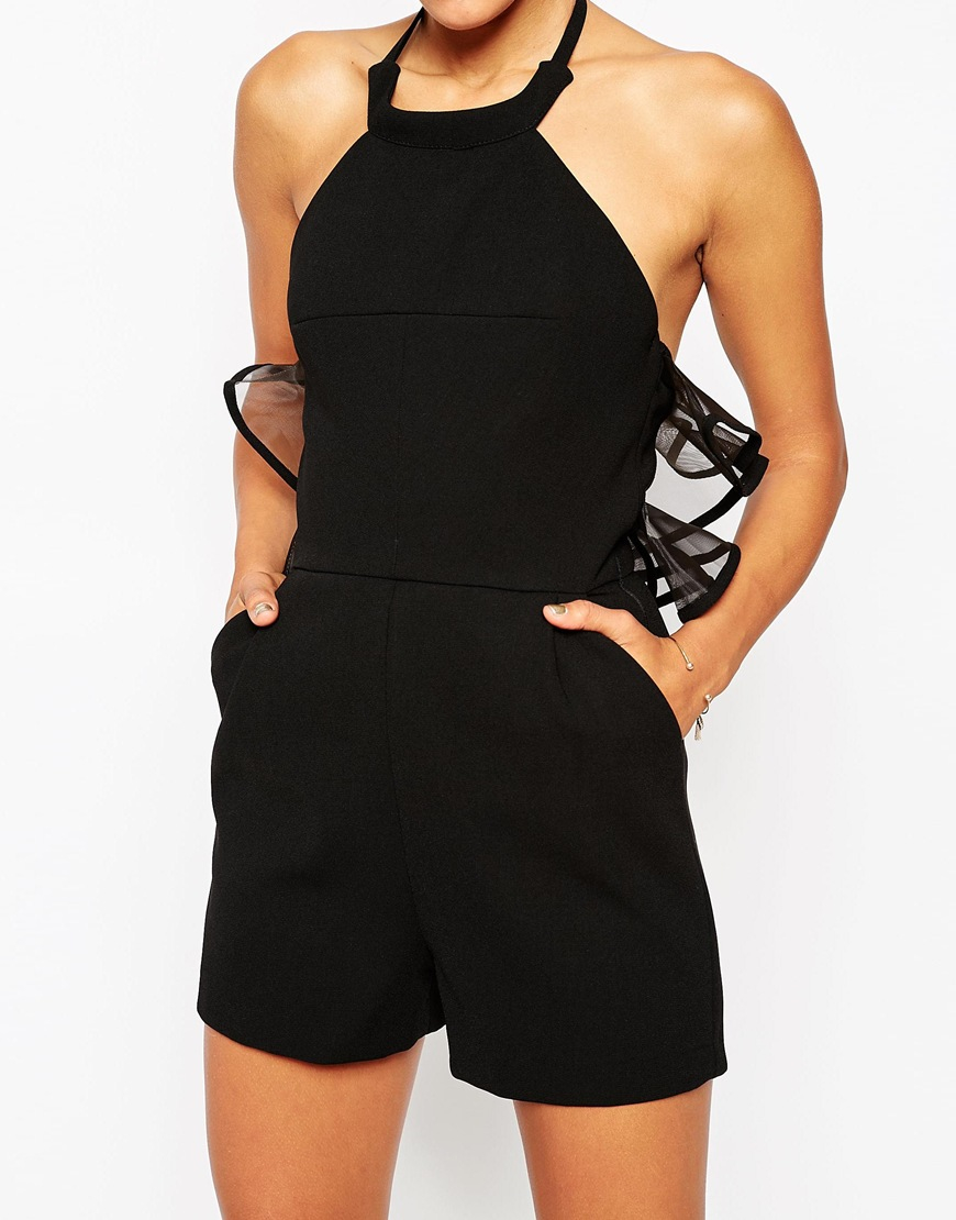 9533045b2a5 ASOS Premium Halter Playsuit With Organza Ruffle Back in Black - Lyst
