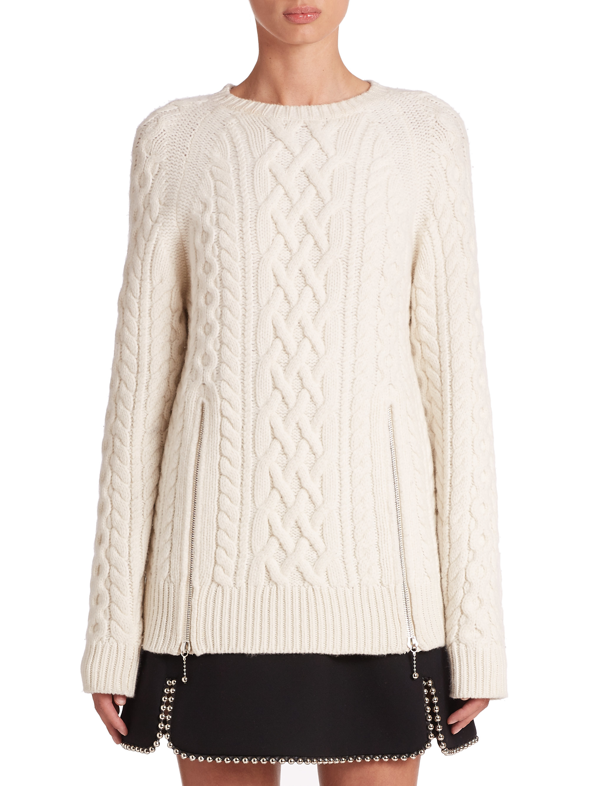 Alexander wang Zip Accent Oversized Fisherman Sweater in Natural ...