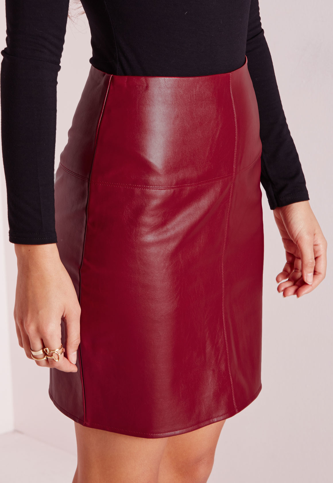Burgundy Faux Leather Mini Skirt