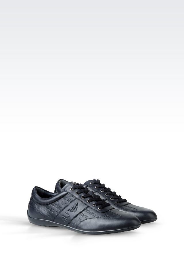 armani jeans classic sneaker in logo patterned leather in blue for men lyst. Black Bedroom Furniture Sets. Home Design Ideas