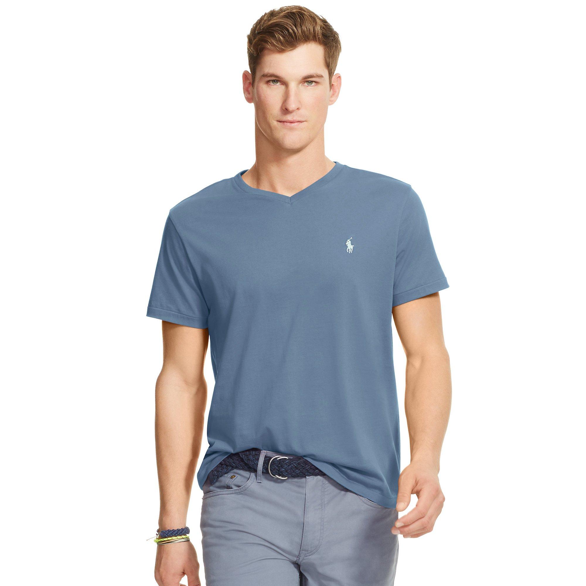 lyst polo ralph lauren cotton jersey v neck t shirt in blue for men. Black Bedroom Furniture Sets. Home Design Ideas