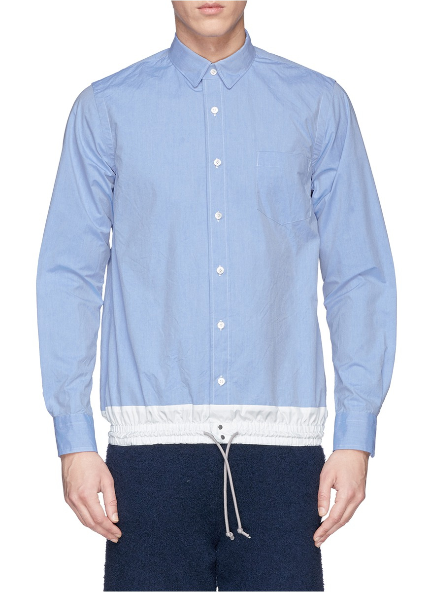 Sacai Nylon Hem Oxford Shirt in Blue for Men
