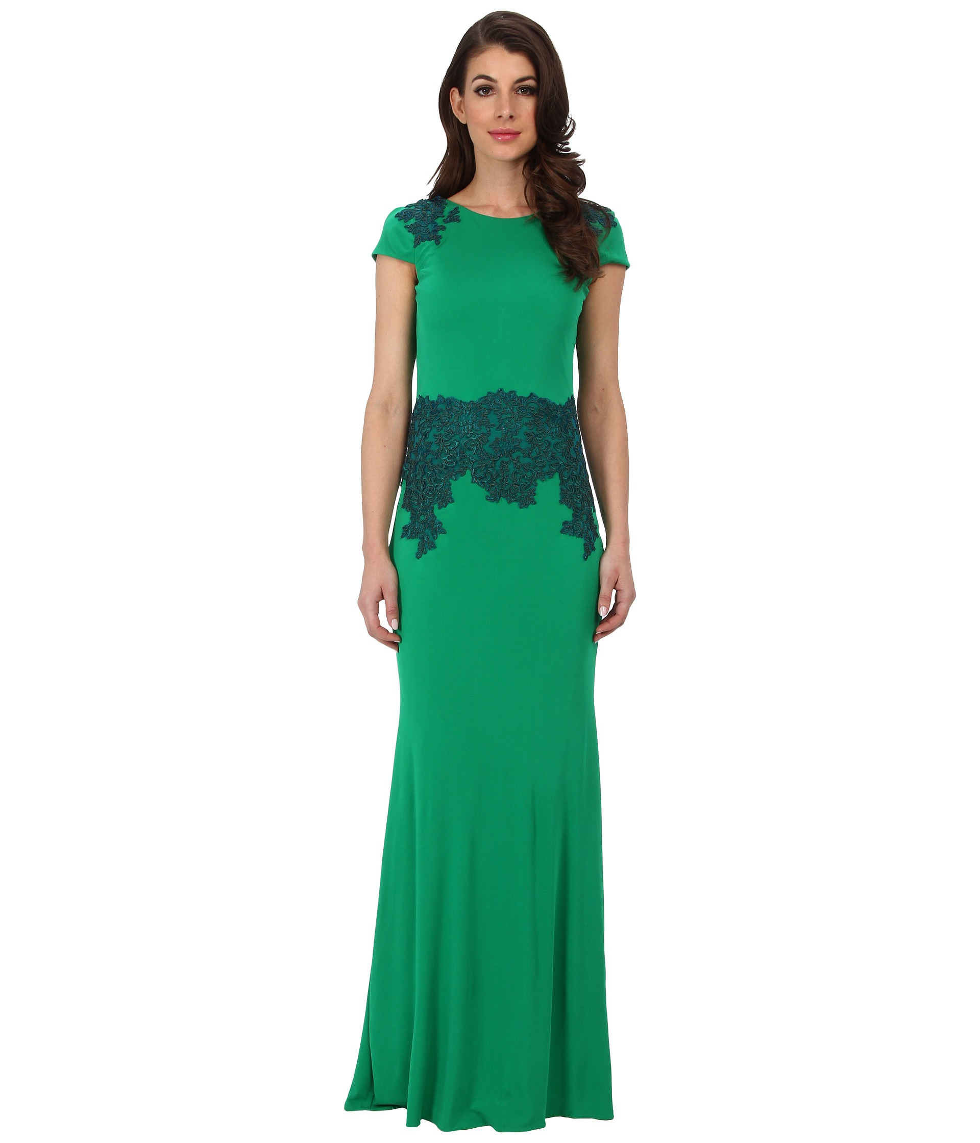 Badgley mischka cowl back gown in green emerald lyst for Badgley mischka store nyc